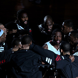 Jun 19, 2012; Miami, FL, USA; Miami Heat shooting guard Dwyane Wade (3) huddles with teammates before the start of game four of the 2012 NBA Finals against the Oklahoma City Thunder at the American Airlines Arena. Mandatory Credit: Derick E. Hingle-USA TODAY SPORTS