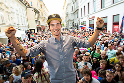 Primoz Roglic with fans during reception of best Slovenian riders after Giro d'Italia 2019 and Tour of California 2019, on June 3rd, 2019, in Mestni trg, Ljubljana, Slovenia. Photo by Vid Ponikvar / Sportida