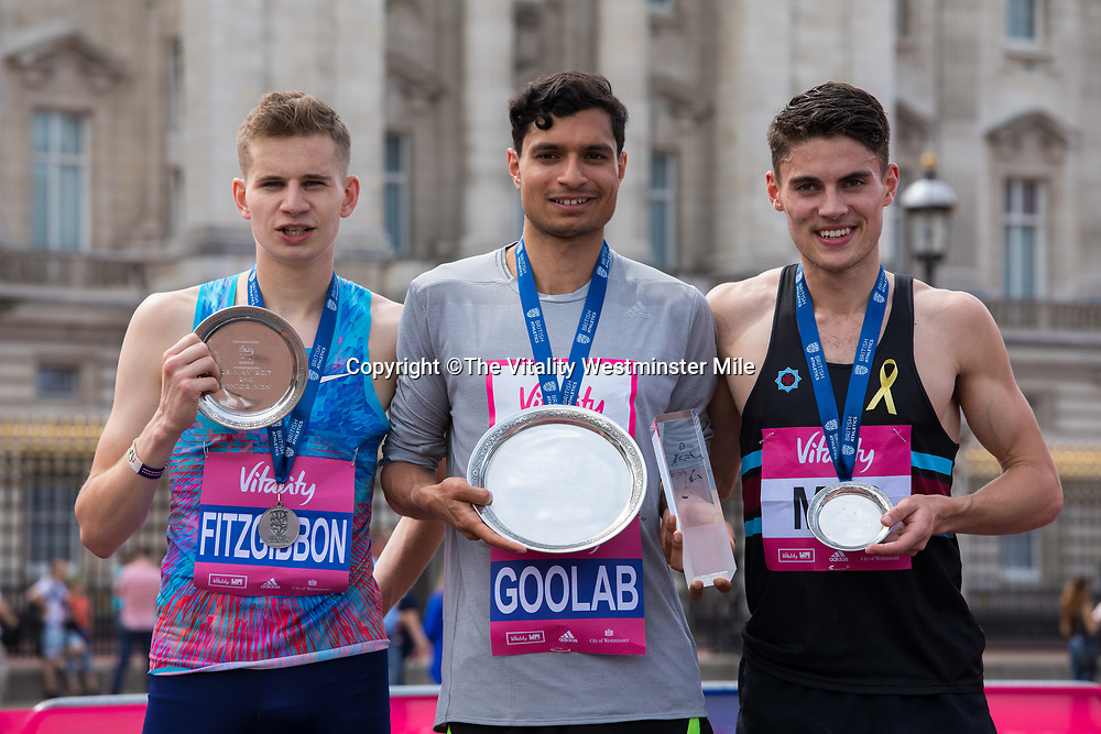 Robbie Fitzgibbon (second place, left), Nick Goolab (centre, first place) and Seseman Philip (right third place) at the presentations for the Senior Women's British One Mile Road Race at The Vitality Westminster Mile, Sunday 28th May 2017.<br /> <br /> Photo: Neil Turner for The Vitality Westminster Mile<br /> <br /> For further information: media@londonmarathonevents.co.uk