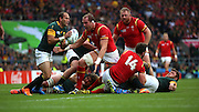 Wales Alun Wyn Jones trying to get to South Africa's Fourie du Preez (Captain) during the Rugby World Cup Quarter Final match between South Africa and Wales at Twickenham, Richmond, United Kingdom on 17 October 2015. Photo by Matthew Redman.
