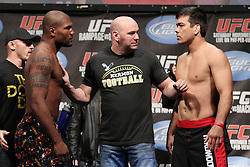 "Nov 19; Auburn Hills, MI, USA;  Quinton ""Rampage"" Jackson and Lyoto ""The Dragon"" Machida pose after weighing in for their upcoming bout at UFC 123 in Auburn Hills, Michigan.  The two will meet in the main event tomorrow night."