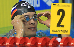 Swimmer Matjaz Markic of Slovenia celebrates after winning the 50m Men`s Breaststroke final race, during the 3rd day of LEN European Short Course Swimming Championships Rijeka 2008, on December 13, 2008,  in Kantrida pool, Rijeka, Croatia. (Photo by Vid Ponikvar / Sportida)