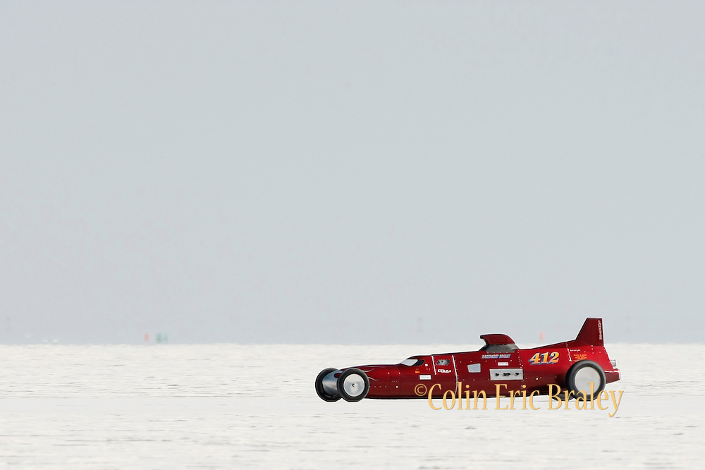 Best cars-people-atmosphere-photos of 2009 Bonneville Speed Week- True Radius Bending's 1968 Lakester, driven by Gary Harms and Ken Symer of Santa Barbara, CA. makes a run at the Bonneville Speed Way. August 9, 2009.  Photo by Colin E. Braley