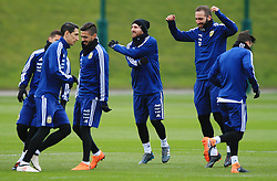 Argentina's Lionel Messi, Angel di Maria and Gonzalo Higuain warm up - Mandatory by-line: Matt McNulty/JMP - 21/03/2018 - FOOTBALL - Argentina - Training session ahead of international against Italy