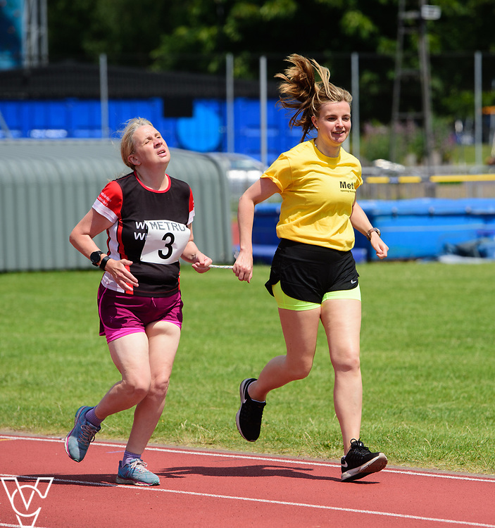 Metro Blind Sport's 2017 Athletics Open held at Mile End Stadium.  800m.  Lynn Cox with guide runner<br /> <br /> Picture: Chris Vaughan Photography for Metro Blind Sport<br /> Date: June 17, 2017