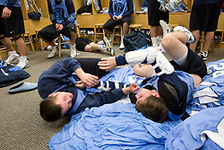 14 April 2008: North Carolina Tar Heels men's lacrosse defenseman Kerry McCormick (41) and midfielder Joe Howard (30) wrestle during a practice day in Chapel Hill, NC.