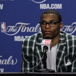 Jun 19, 2012; Miami, FL, USA; Oklahoma City Thunder point guard Russell Westbrook talks to the media during the post game press conference after game four in the 2012 NBA Finals against the Miami Heat at the American Airlines Arena. Miami won 104-98. Mandatory Credit: Derick E. Hingle-US PRESSWIRE