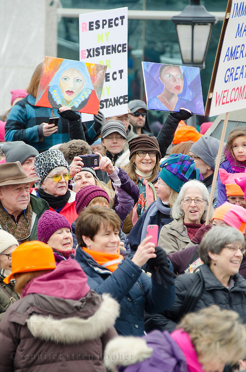 Augusta, Maine, USA. 21st Jan, 2017. Women's March on Maine rally in front of the Maine State Capitol. The March on Maine is a sister rally to the Women's March on Washington.