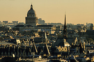 France. Paris.  Elevated view. Pantheon hill and The Sorbonne area, view from Saint Eustache church bell tower