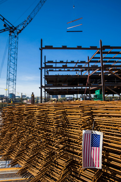 concrete reinforcing steel with US flag