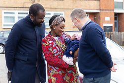 Proud parents Eniola and Lara Cameron Cole pose at their home in Deptford, South East London, with three week old baby Florance [Spelling correct] who was born near Elephant and Castle in the Uber Cab of Sherif Cacaj [Spelling correct], right, when on their way to St Thomas's Hospital in London hospital when Lara went into labour. London, February 11 2019.