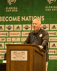 01/07/2018. Orlando, USA.  <br /> Press event to launch the 2018 Florida Cup.<br /> <br /> Orlando Mayor Buddy Dyer<br /> <br /> At  Universal Resort, Orlando.<br /> Pic: Mark Davison /PLPA