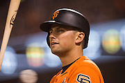 San Francisco Giants second baseman Joe Panik (12) waits outside the batter's box against the St. Louis Cardinals at AT&T Park in San Francisco, Calif., on September 16, 2016. (Stan Olszewski/Special to S.F. Examiner)