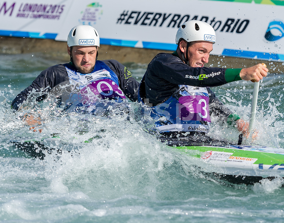 Luka Bozic and Saso Taljat of Slovacia compete in the C2 during the ICF Canoe Slalom World Championship 2015 at Lee Valley White Water Centre, London, United Kingdom on 19 September 2015. Photo by Vince  Mignott.