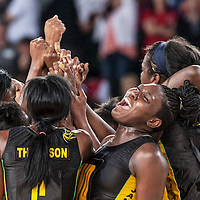 Picture by Christian Cooksey.Commonwealth Games Day 11 (3rd August 2014, The SECC Precinct.The  Hydro. Netball. Bronze medal. England v Jamaica. The Sunshine Girls of Jamaica celebrate their bronze medal including Wing Defence Vangelee Williams (2nd right)
