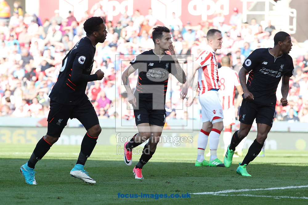Philippe Coutinho of Liverpool celebrates scoring the first goal against Stoke City during the Premier League match at the Bet 365 Stadium, Stoke-on-Trent.<br /> Picture by Michael Sedgwick/Focus Images Ltd +44 7900 363072<br /> 08/04/2017
