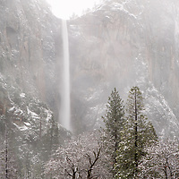 Bridalveil Falls shrouded by fog, Yosemite National Park, CA