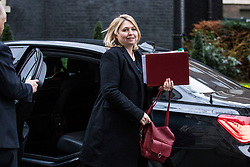 © Licensed to London News Pictures. 20/02/2018. London, UK. Secretary of State for Northern Ireland Karen Bradley arrives on Downing Street for the weekly Cabinet meeting. Photo credit: Rob Pinney/LNP