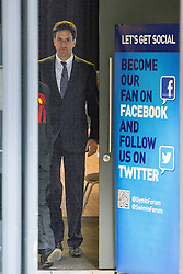 © Licensed to London News Pictures . 31/01/2014 . Manchester , UK . Leader of the Labour Party , ED MILIBAND , arrives ahead of delivering a speech and Q&A at Wythenshawe Forum this afternoon (31st January 2014) as the party continues to campaign for Mike Kane in the upcoming Wythenshawe and Sale East by-election , following the death of Paul Goggins . Photo credit : Joel Goodman/LNP