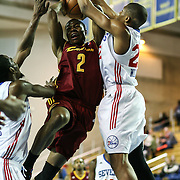 Canton Charge Guard Ben Uzoh (2) drives towards the basket as Delaware 87ers Forward Rodney Williams (22) defends in the second half of a NBA D-league regular season basketball game between the Delaware 87ers (76ers) and The Canton Charge (Cleveland Cavaliers) Friday, Jan 24, 2014 at The Bob Carpenter Sports Convocation Center, Newark, DEL.