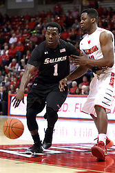 25 February 2015:  Jalen Pendleton strides through the lane guarded by John Jones  during an NCAA MVC (Missouri Valley Conference) men's basketball game between the Southern Illinois Salukis and the Illinois State Redbirds at Redbird Arena in Normal Illinois