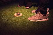 A mole between the structures of Knitown, mise en scene designed for Spazio Missoni by artist Aldo Lanzini with the creative direction of Angela Missoni, Milan April 12, 2016. &copy; Carlo Cerchioli<br /> <br /> Una talpa fra le strutture di Knitown, messa in scena creata in occasione del Salone del mobile per lo Spazio Missoni dall'artista Aldo Lanzini con la direzione artistica di Angela Missoni, Milano, 12 aprile 2016.