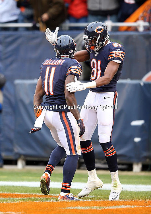 Chicago Bears wide receiver Cameron Meredith (81) celebrates with Chicago Bears wide receiver Josh Bellamy (11) after Bellamy catches a 34 yard touchdown pass in the end zone that ties the third quarter score at 10-10 during the NFL week 17 regular season football game against the Detroit Lions on Sunday, Jan. 3, 2016 in Chicago. The Lions won the game 24-20. (©Paul Anthony Spinelli)