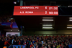 LIVERPOOL, ENGLAND - Tuesday, April 24, 2018: Liverpool's scoreboard records the 5-2 victory over AS Roma during the UEFA Champions League Semi-Final 1st Leg match between Liverpool FC and AS Roma at Anfield. (Pic by David Rawcliffe/Propaganda)