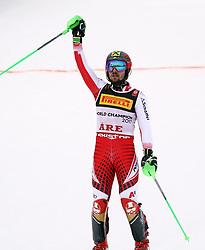 17.02.2019, Aare, SWE, FIS Weltmeisterschaften Ski Alpin, Slalom, Herren, 2. Lauf, im Bild Goldmedaillengewinner und Slalom Weltmeister Marcel Hirscher (AUT) // gold medalist and world champion Marcel Hirscher of Austria reacts after his 2nd run of men's Slalom of FIS Ski World Championships 2019. Aare, Sweden on 2019/02/17. EXPA Pictures &copy; 2019, PhotoCredit: EXPA/ SM<br /> <br /> *****ATTENTION - OUT of GER*****
