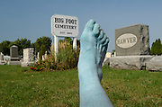 Footograph: Photograph of my right foot painted blue and looking rather dead at the Big Foot Cemetery in the tiny village of Big Foot, which straddles the Illinois-Wisconsin border east of Beloit..