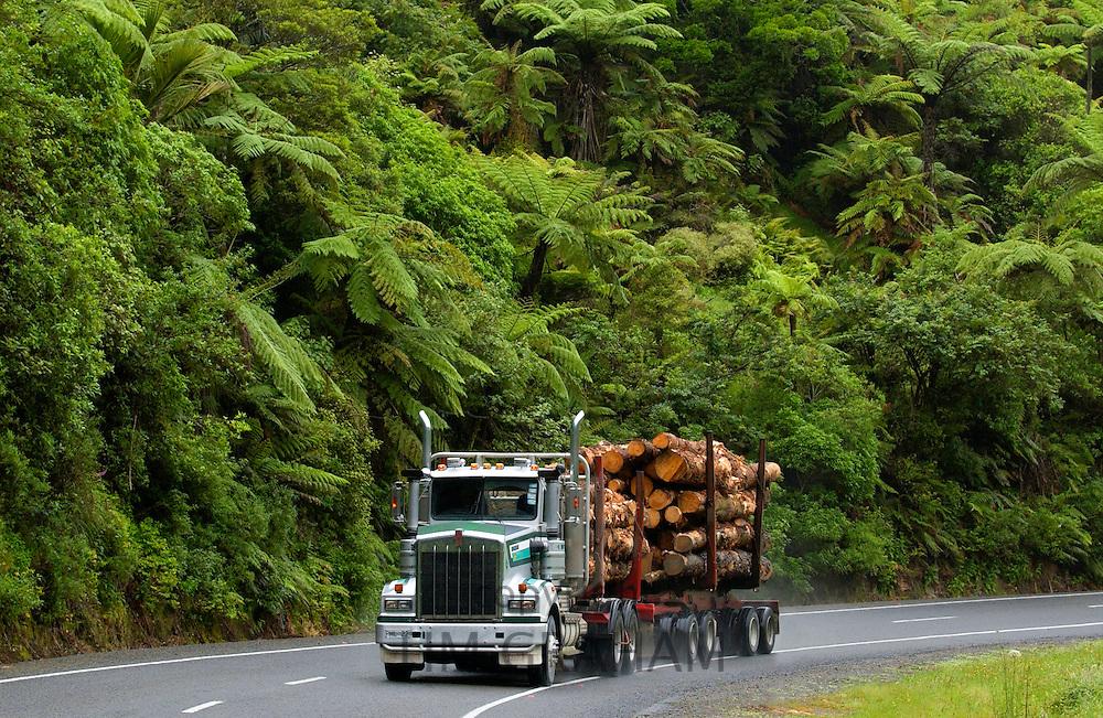 Logging truck, New Zealand