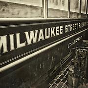 Photo of the Milwaukee Street Railway trolley car in the Streets of Old Milwaukee at the Milwaukee County Museum.