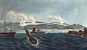Napoleonic Wars: Peninsular Campaign, Battle of Corunna (La Coruna) Spain, 16 January 1809, viewed from the sea. English under Sir John Moore defeated French. Moore was mortally wounded. Hand-coloured engraving.