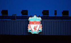 LIVERPOOL, ENGLAND - Wednesday, January 20, 2016: Liverpool's club crest illuminated against the dusk before the FA Cup 3rd Round Replay match against Exeter City at Anfield. (Pic by David Rawcliffe/Propaganda)