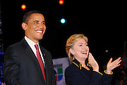 Senators Barack Obama and Hillary Clinton at the Democratic frontrunners' debate on the University of Texas Campus in Austin Texas, February 21 2008.