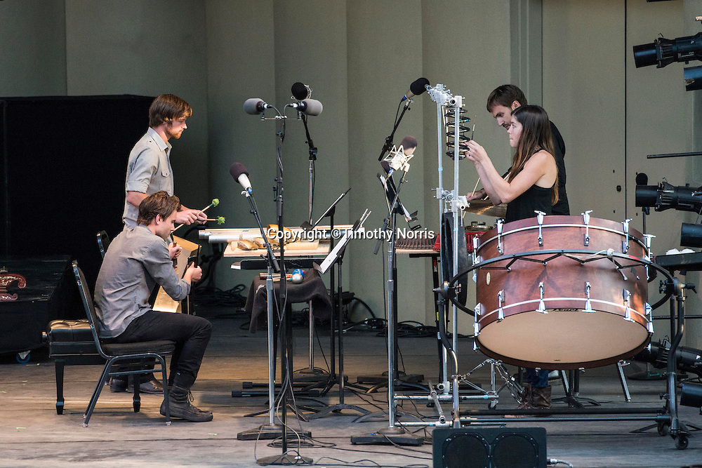 """red fish blue fish perform Lou Harrison's """"Fugue for Percussion"""" at Libbey Bowl on June 9, 2013 in Ojai, California."""