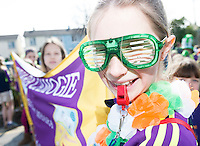 17/03/12016 Roisin Gainey from Kinvara Camoige club Calling the shots  at the the St. Patrick's Day Parade in Kinvara Co. Galway. Photo:Andrew Downes, xposure.