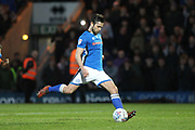 MISSED PENALTY Joe Rafferty penalty is saved during the EFL Sky Bet League 1 match between Rochdale and Oldham Athletic at Spotland, Rochdale, England on 17 April 2018. Picture by Daniel Youngs.