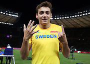 Mondo Duplantis aka Armand Duplantis (SWE) poses after winning the pole vault in a World U20 and  Swedish national record 19-10 1/4 (6.05m) in the European Championships in Berlin, Germany, Sunday, Aug 12, 2018. (Jiro Mochizuki/Image of Sport)