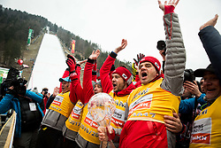 Stefan Horngacher, coach and others of Team Poland celebrate after the Ski Flying Hill Men's Individual Competition at Day 4 of FIS Ski Jumping World Cup Final 2017, on March 26, 2017 in Planica, Slovenia. Photo by Vid Ponikvar / Sportida