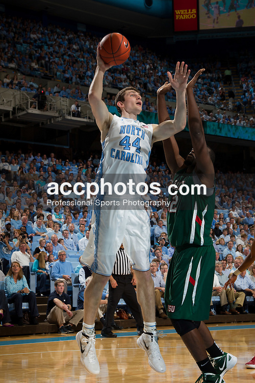 CHAPEL HILL, NC - NOVEMBER 20: Tyler Zeller #44 of the North Carolina Tar Heels shoots while playing the Mississippi Valley State Delta Devils on November 20, 2011 at the Dean E. Smith Center in Chapel Hill, North Carolina. North Carolina won 101-75. (Photo by Peyton Williams/UNC/Getty Images) *** Local Caption *** Tyler Zeller