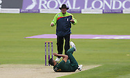 Ajmal Shahzad of Nottinghamshire Outlaws slips while bowling during the Royal London One Day Cup match at Emirates Durham ICG, Chester-le-Street<br /> Picture by Simon Moore/Focus Images Ltd 07807 671782<br /> 06/09/2014