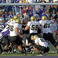 Colorado kicker Mason Crosby (16) kicks a 50-yard field goal with six seconds left in the game to beat Kansas State 23-20 at KSU Stadium in Manhattan, Kansas, October 29, 2005.