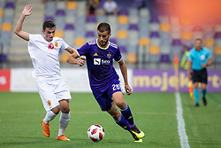 Jasir Asani of FK Partizani Tirana and Mitja Viler of NK Maribor during 2nd Leg football match between NK Maribor and FK Partizani Tirana in 1st Qualifying Round of UEFA Europa League 2018/18, on July 19, 2018 in Ljudski vrt, Maribor, Slovenia. Photo by Urban Urbanc / Sportida
