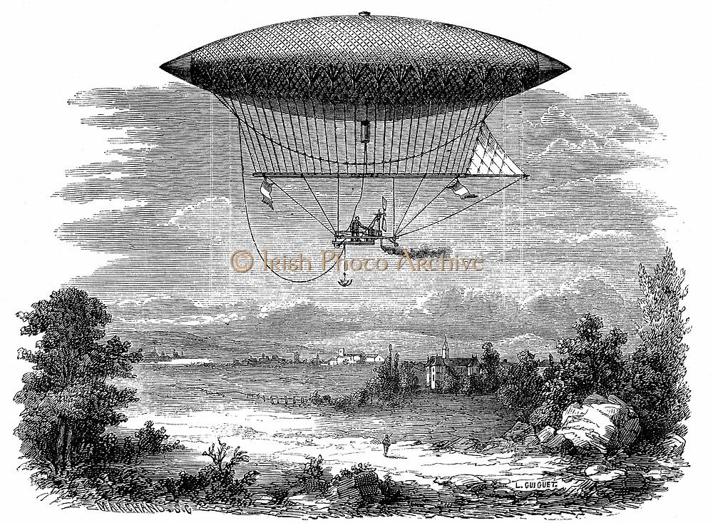 Henri Giffard's (1825-1882) steam-powered steerable (dirigible) airship during its ascent of 25 September 1852: cigar shaped gasbag. From Louis Figuier 'Les Merveilles de la Science' (Paris, c1870).