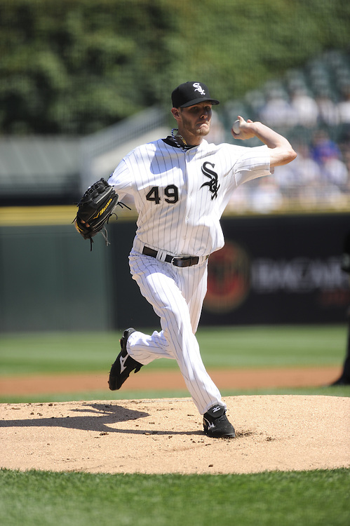 CHICAGO - JUNE 09:  Chris Sale #49 of the Chicago White Sox pitches against the Houston Astros on June 9, 2012 at U.S. Cellular Field in Chicago, Illinois.  The White Sox defeated the Astros 10-1.  (Photo by Ron Vesely)   Subject: Chris Sale