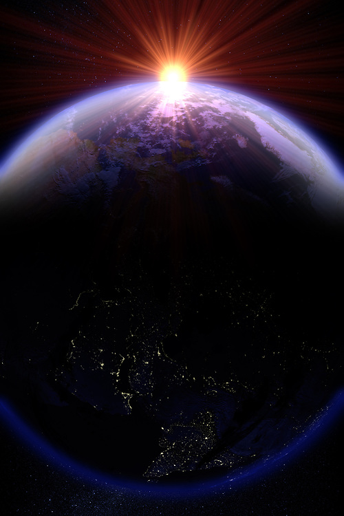 3D rendering of a sunrise over planet earth