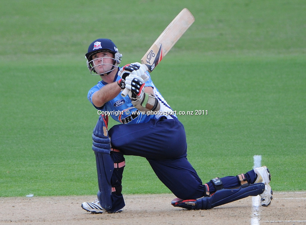 Auckland captain Gareth Hopkins batting during the HRV Twenty20 Cricket match between the Auckland Aces and Canterbury Wizards at Colin Maiden Oval in Auckland, New Zealand on Tuesday 17 January 2012. Photo: Andrew Cornaga/Photosport.co.nz