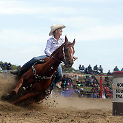 Leah Causer from Christchurch in action during the Open Barrel Race at the Southland Rodeo, Invercargill,  New Zealand. 29th January 2012