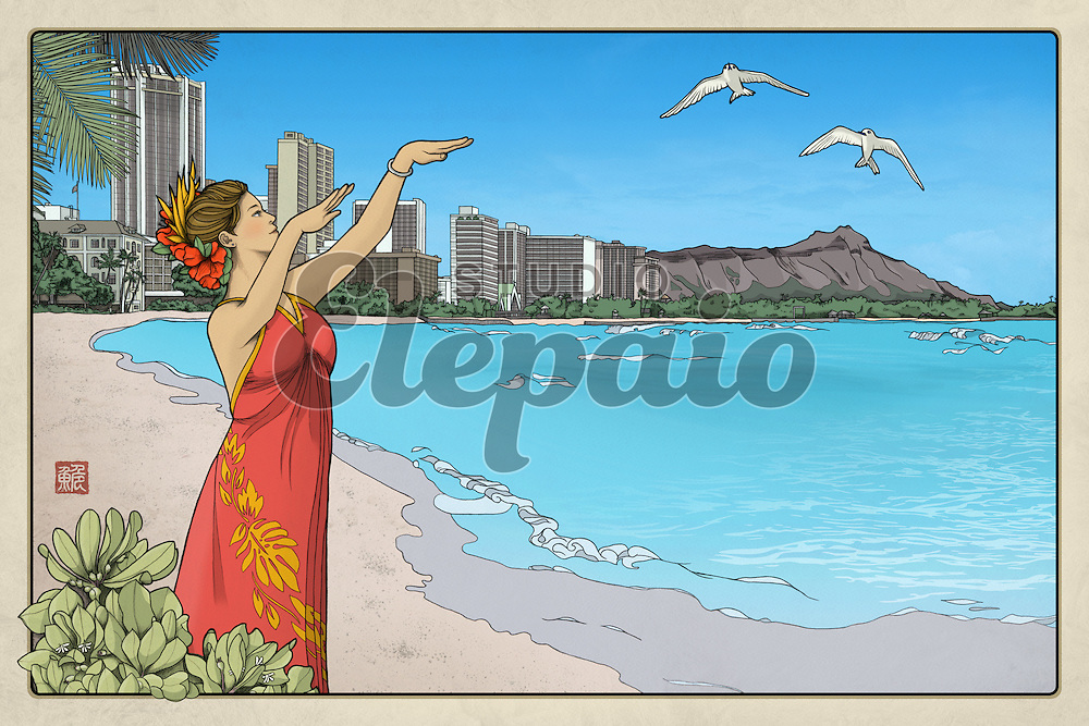 """Thirty-six Views of Diamond Head No.1, Waikiki Bay. Art by Hayataro Sakitsu. Prints are available in various sizes and materials. For 7"""" x 5"""" prints and greeting cards, please go to """"Waikiki Bay (7:5)"""" in this gallery."""